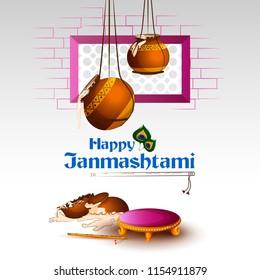 Pot of Dahi Handi (cream) for Janmashtami festival India holiday. Vector illustration