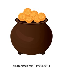 pot full of gold coins vector illustration design