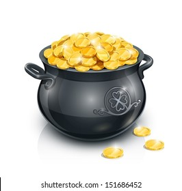 pot with gold coin for Patrick's day. vector illustration isolated on white background EPS10. Transparent objects and opacity masks used for shadows and lights drawing