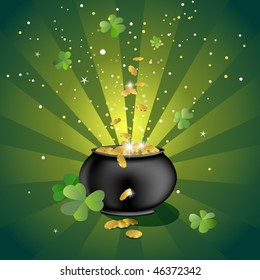 pot with gold coins, illustration for the saint patrick`s day