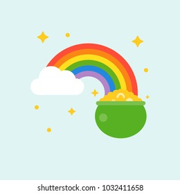 pot of gold at end of rainbow, st patrick's day flat design icon
