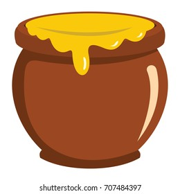 Pot of honey icon in flat style vector illustration for design and web isolated on white background. object for label and advertising