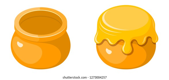 Pot of honey in the style of a kartun on a white background. Vector illustration of honey in earthenware isolated object