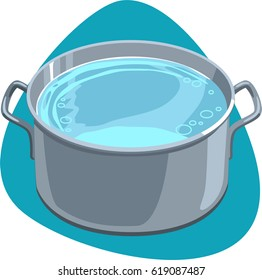 Pot with hot clean water and handles. Isolated. Saucepan on blue background.