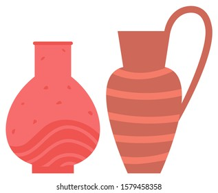 Pot made of clay vector, handmade decoration with ornament stripes. Ceramics pottery, vase for flowers and amphora with handle flat style objects set
