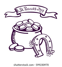 Pot with money and a horseshoe on white background. St.Patrick 's Day. Vector images for your business and design. For postcards, cartoons, games, wallpapers, linen and clothing