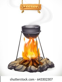Pot over the campfire. Camping, outdoor cooking. 3d vector icon.