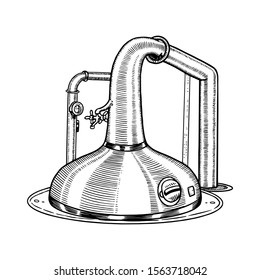 Pot Swan necked copper stills distillery for making alcohol. Engraved hand drawn vintage retro sketch for logo or whiskey label or alcohol menu. Vector illustration.