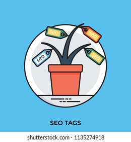 A pot with tags on a plant showing seo tags concept