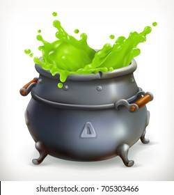 Pot. Witch Kitchen. Happy Halloween, 3d vector icon