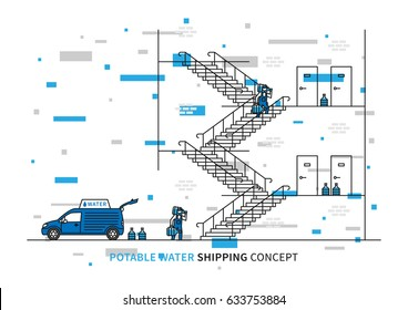 Potable water shipping vector illustration. Workers carry drinking water bottles to customer apartments. Water delivery graphic design with decorative colorful elements.