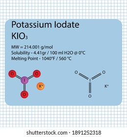 Potassium Iodate molecule ball and stick model with chemical structure on school paper background. Inorganic KIO3 compound with molecular weight.
