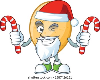 Potato Cartoon character in Santa Claus with candy