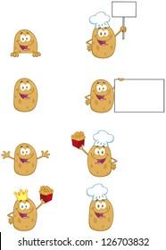 Potato Cartoon Mascot Characters-Vector Collection