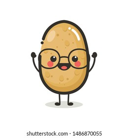 Potato Character Mascot .Fruit & Vegetables ICon Logo Design Vector