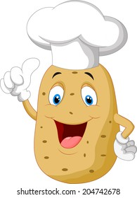 Potato chef cartoon giving thumb up