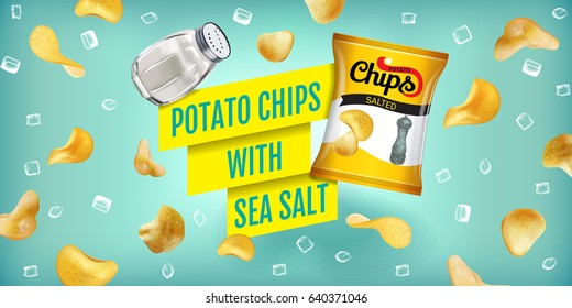 Potato chips ads. Vector realistic illustration of potato chips with sea salt. Horizontal banner with product.