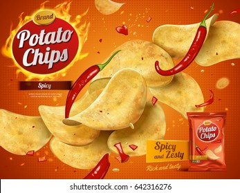 potato chips advertisement, spicy flavor 3d illustration