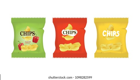 Potato chips bags. vector illustration