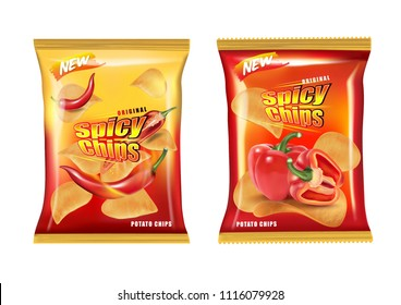 Potato chips burning on fire packaging isolated, Chips with chillies and bell peppers flavor design elements, Vector realistic 3d illustration, of free space for your copy and branding. Food concept.