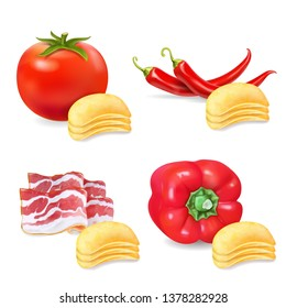 Potato chips with flavor pepper, paprika, tomato and bacon set. Realistic illustration