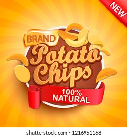 Potato chips on gold sunburst background.100 percent natural, organic and fresh healthy food. Perfect template for brand, flyers, web, posters, ad, promotions, marketing, packaging.Vector illustration