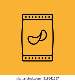 Potato Chips Pack Minimalistic Flat Line Outline Stroke Icon Pictogram Symbol