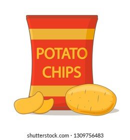 Potato chips package bag.Vegetable potatoes.Isolated white background.Flat vector.Fast food.