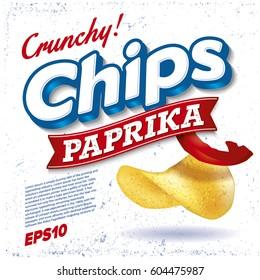 Potato Chips. Package design. Logo design. Paprika taste