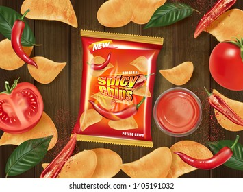 Potato chips packaging on wooden table background, Chips with chili and tomatoes flavor design elements, Vector realistic 3d illustration, of free space for your copy.