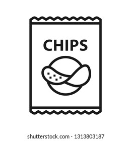 Potato chips in packet icon. Stroke outline style. Line vector. Isolate on white background.