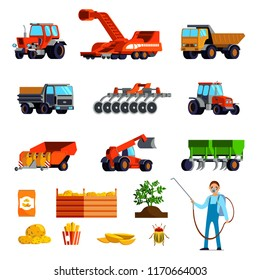 Potato cultivation flat icons set with plant and tubers pest control and agricultural vehicles isolated vector illustration