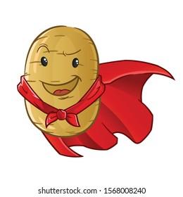 potato emoticon emoji cute chibi super hero face cartoon mascot vector illustration