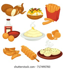 Potato food dishes snacks and cooked products vector flat icons