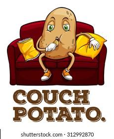 Potato sitting on couch illustration