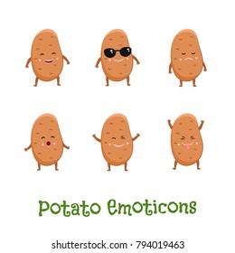 Potato smiles. Cute cartoon emoticons. Emoji icons