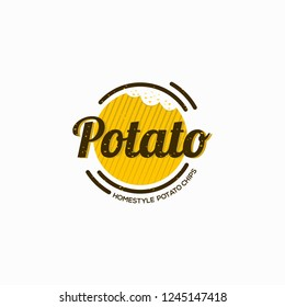 Potato snack logo design illustration template