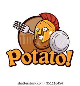 Potato Spartan Warrior Cartoon