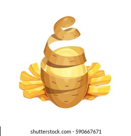 Potato vegetable and French friess. Fast-food snack for lunch. Delicious meal. Potatoes chips. Cooking Vector illustration. Isolated white background.