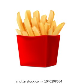 Potatoes French Fries in Red Carton Package Box Isolated on White background. Fast Food