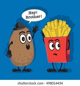 Potatoes fries chips illustration, typography, t-shirt graphics, vectors