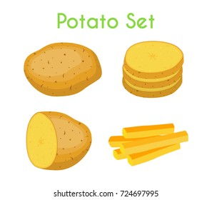 Potatoes set, french fries, brown tasty vegetable. Organic food. Made in cartoon flat style. Vector illustration