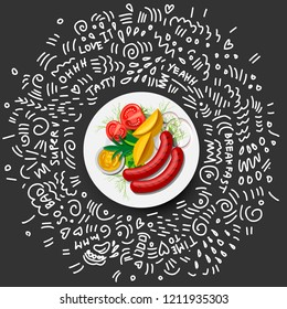 Potatoes with vegetables and Sausage on Plate Icon, isolated on black background. Grilled Sausages, fresh Vegetables, sauce - Fast Food vector objects on plate with greens and doodle decoration around