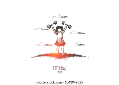 Potential concept. Hand drawn girl with barbells as symbol of high potential. Motivation to achievement isolated vector illustration.