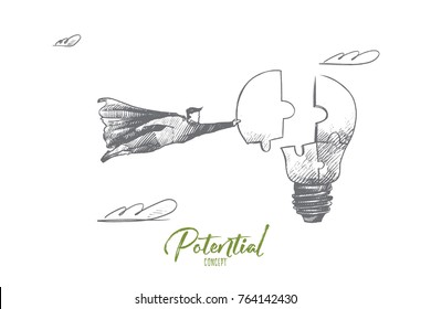 Potential concept. Hand drawn superhero with piece of light bulb as symbol of prospects for success. Flying hero makes bulb complete from little pieces isolated vector illustration.