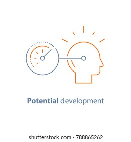 Potential development concept, head line icon, personal growth, vector thin stroke