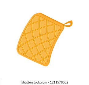 Potholder cloth for hot plates and bakery. Oven mitt with loop cooking fireproof protective glove. Icon closeup kitchen safety isolated on vector