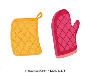 Potholder and oven mitt isolated icons set vector. Protective fabric tissue cloth with square pattern. Gloves protecting form burns cooking mitten