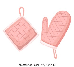 Potholder and oven mitt pink color. Protective fabric tissue cloth with square pattern. Flat vector illustration isolated on white background.