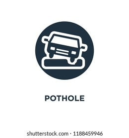 Pothole icon. Black filled vector illustration. Pothole symbol on white background. Can be used in web and mobile.